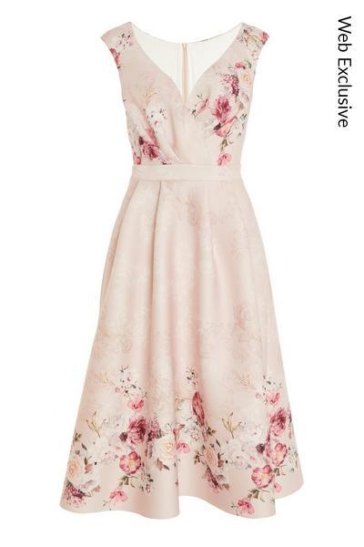 Pink Floral Midi Skater Dress